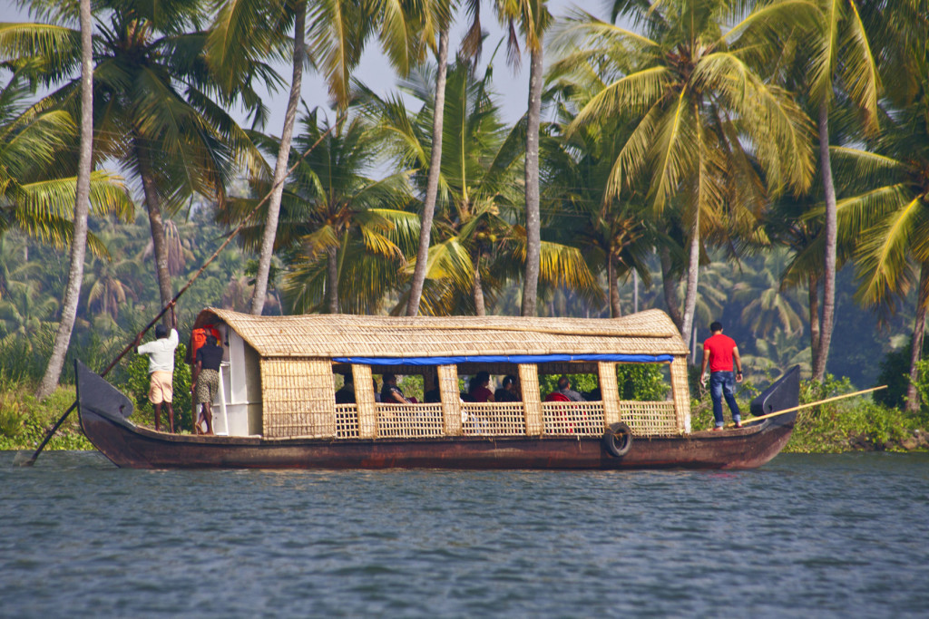 Houseboat in backwater of Kerala , India